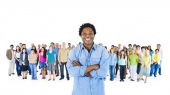 Black person standing out of crowd — Stock Photo