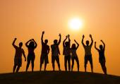 People on party at Sunset — Stock Photo