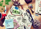 Desk with Notes About Data — Stock Photo