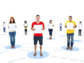 Connected Multi-Ethnic People Holding Placard for Copy Space — Stock Photo