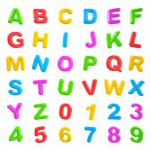 English multi coloured alphabet and number — Stock Photo