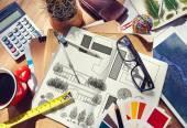 Messy Designer's Table — Stock Photo