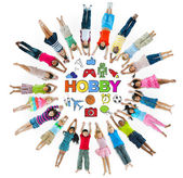 Group of Children Circle with Hobby Symbols — Stock Photo