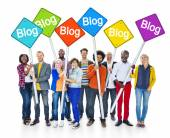 People Holding Sign that Reads Blog — Stock Photo