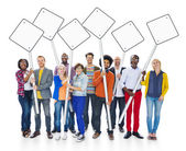 People Holding Blank Signs Post — Stock Photo