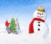 Family enjoying Christmas holiday — Stock Photo