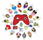 Multiethnic Group of Children Playing Video Games — Stock Photo