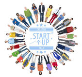 Group of People with Start Up in circle — Stockfoto