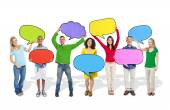 Diverse People Holding Colorful Speech Bubbles — Stock Photo
