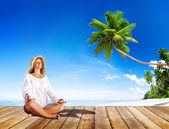 Woman doing Meditation with Nature — Stock Photo