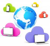 Globe with social network and cloud shape bubble — Stock Photo