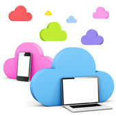 Multi colored cloud shape speech bubble with phone and laptop — Stock Photo