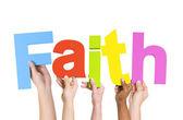 People Holding Word Faith — Stock Photo