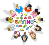 Group of Children and Saving Concept — Stock Photo