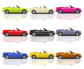 Multicolored 3D Modern Cars — Stock Photo