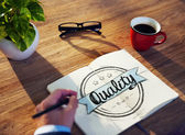 Businessman Brainstorming About Quality — Stockfoto