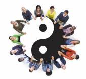People with Yin Yang Symbol — Stock Photo