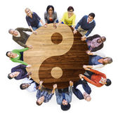 Ultiethnic People in Yin and Yang — Stock Photo