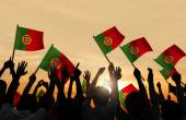 Peopel Holding Portuguese Flags — Stock Photo