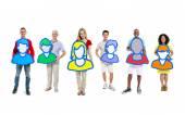 People holding avatars — Stock Photo