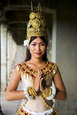 Cambodian Female Dancer Greeting — Stock Photo
