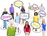People with social networking words — Stock Photo
