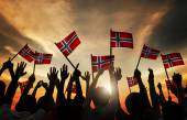 People Waving Norwegian Flags — Stock Photo
