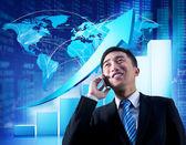 Businessman talking on phone — Stock Photo