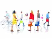 Group of Busy People Shopping — Stok fotoğraf