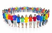 Multi racial world people united — Stock Photo