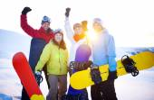 Snowboarders on Top of Mountain — Stock Photo