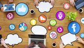 Multiethnic People with Social Media — Stock Photo