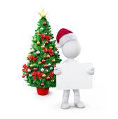 Santa boy holding placard — Stok fotoğraf