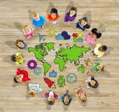 Group of Children and World Map — Stok fotoğraf