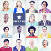 Portraits of Multiethnic Diverse Colorful People — Stock Photo