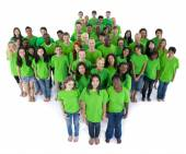 Groups of people in green color — Stock Photo