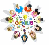 Group of Children Circle Genius Word — Stockfoto
