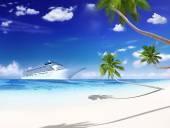 Výletní lodi s palmami. — Stock fotografie