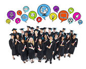 Group Of Happy Students Graduating — Stock Photo
