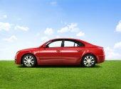 Shiny red sedan — Stock fotografie