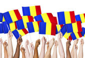 Hands holding Flags of Romania — Stockfoto
