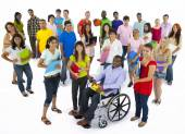 Large group of multi-ethnic young people — Stock Photo