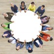 People Forming Circle Holding Hands — Stock Photo #52467835