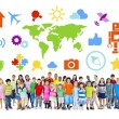 Group of Diverse Children with Various Symbol — Stock Photo #52461001