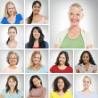 Multi ethnic women smiling — Stock Photo #52461685
