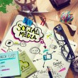Desk with Social Media Concept — Stock Photo #52461831