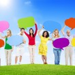 People Holding Speech Bubbles — Stock Photo #52462891