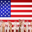 Arms Outstretched With North American Flag — Stock Photo #52463015