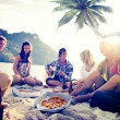 Young People Relaxing on Beach — Stock Photo #52463101