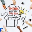 Hands on Whiteboard with Think Outside the Box — Stock Photo #52465265